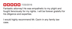 5 star yelp review for Cavin Law